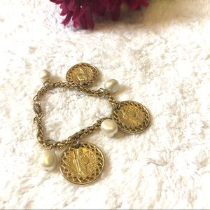 Pearl and Coin Charm Statement Fashion Bracelet
